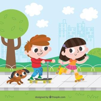 Веселые дети, с удовольствием на открытом воздухе