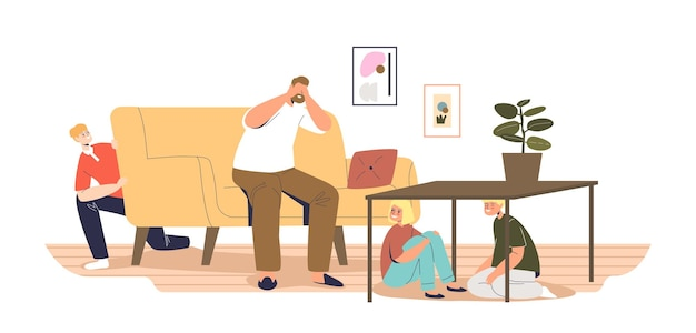 Cheerful kids hiding in living room from dad counting hide and seek game at home. children and father play together indoors. leisure activity for family concept. cartoon flat vector illustration