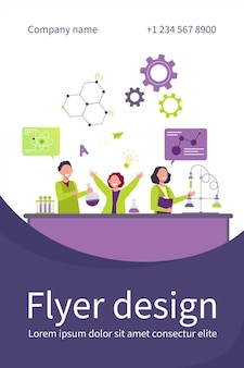 Cheerful kids learning in chemistry class flat flyer template