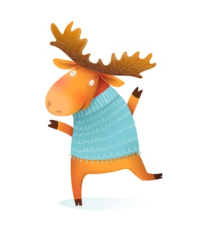 Cheerful kids moose or elk wearing knitted sweater, wintertime and christmas kids greeting card character. kids isolated animal illustration, cartoon in watercolor style.