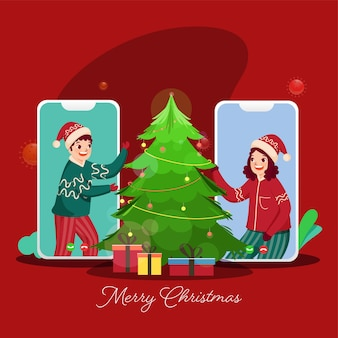 Cheerful kids talking to each other on video call with decorative xmas tree and gift boxes for merry christmas celebration.