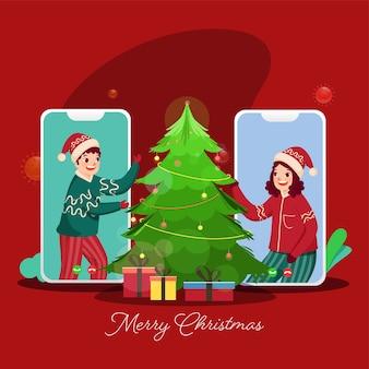 メリークリスマスのお祝いのための装飾的なクリスマスツリーとギフトボックスでビデオ通話でお互いに話している陽気な子供たち。