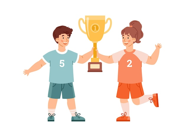 Cheerful kids with gold trophy cups award flat vector illustration isolated
