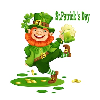 Cheerful leprechaun in a green hat with a mug of beer.