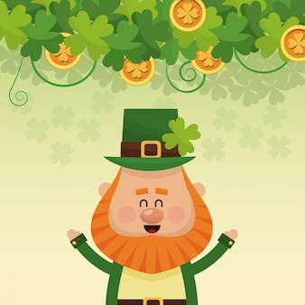 Cheerful leprechaun hands up poster