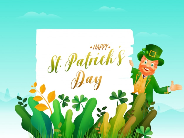 Cheerful leprechaun man showing happy st. patrick's day text in white paper on paper cut leaves landscape blue .