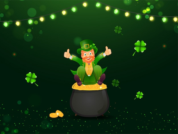 Cheerful leprechaun man sit on golden coins pot with shamrock leaves and lighting garland decorated green lights effect  for st. patrick's day.