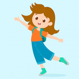 Cheerful little girl jumping with backpack