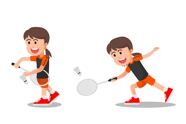 A cheerful little girl playing badminton