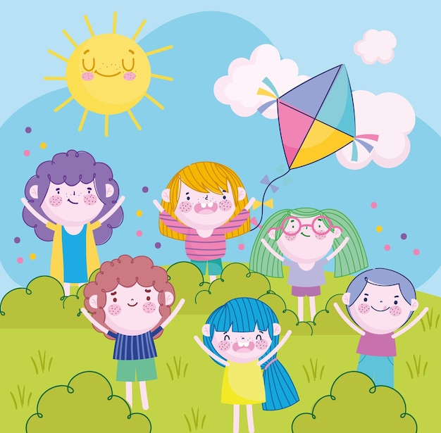 Веселые маленькие девочки и мальчики с воздушным змеем в парке мультфильм, детская иллюстрация