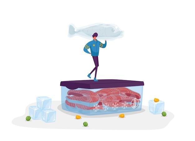 ステーキと角氷が周りにあるコンテナに巨大な冷凍魚スタンドを保持している暖かい服を着た陽気な男性キャラクター。冷凍食品、貯蓄および冷凍製品の概念。漫画