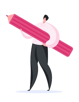 Cheerful male designer carrying large pencil