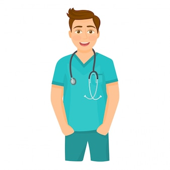 Cheerful male doctor with stethoscope
