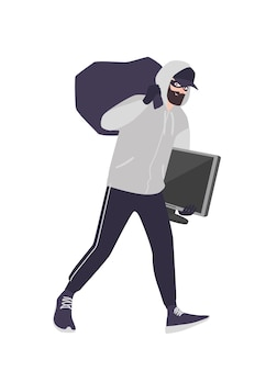 Cheerful male thief wearing mask, cap and hoodie carrying bag and tv. bearded man commits theft, burglary or housebreaking. burglar or criminal with loot. flat cartoon colorful vector illustration.