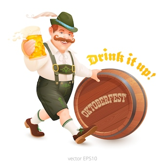 Cheerful man in the bavarian suit walks to oktoberfest party. beer lover carries a mug of beer and pushes a wooden barrel.