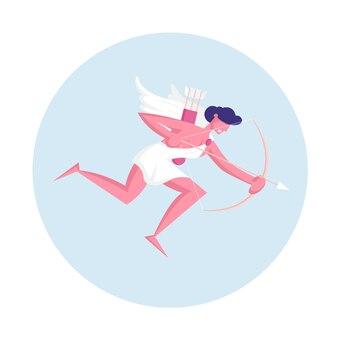 Веселый мужчина-купидон с крыльями в белой тоге, летящий в небе с луком