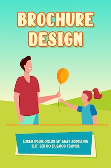 Cheerful man giving air balloon to little girl brochure template