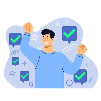 Cheerful man got approval illustration