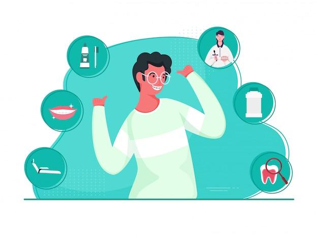 Веселый человек показывает палец вверх из двух рук с стоматологическими элементами на бирюзовом и белом фоне.
