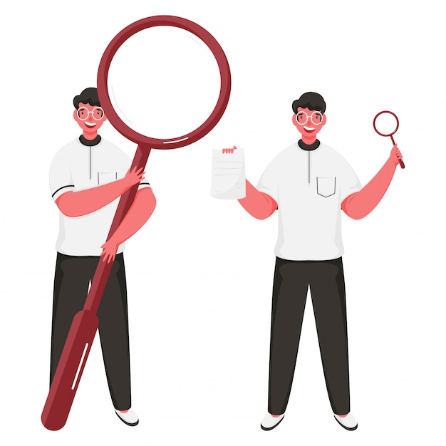 Cheerful men holding magnifying glass with paper in standing pose.
