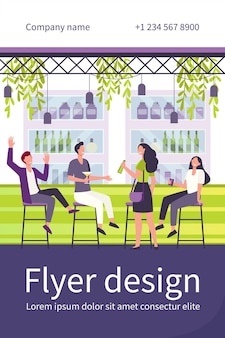 Cheerful men and women sitting in pub flat flyer template