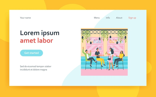 Cheerful men and women sitting in pub landing page