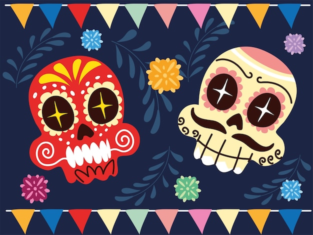 Cheerful mexican skulls, mexican celebration poster design