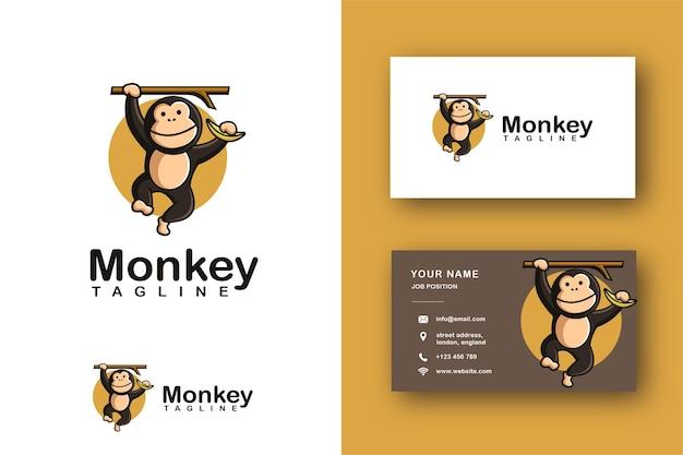 Cheerful monkey chimp cartoon mascot logo and business card template
