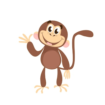 Cheerful monkey waving hand
