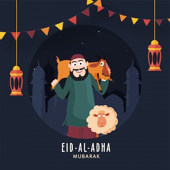 Cheerful muslim man lifting up to goat with cartoon sheep and hanging lanterns on blue mosque background for eid-al-adha mubarak.