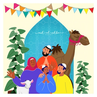 Cheerful muslim people character with goat, camel animal, plant pots on blue and yellow islamic pattern background for eid-al-adha mubarak.