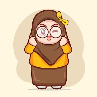 陽気なイスラム教徒の少女漫画のキャラクターイラスト