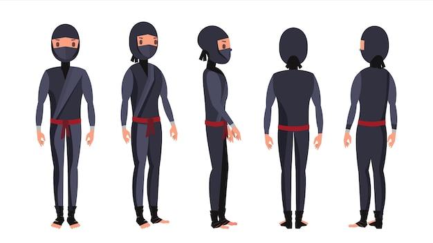 Cheerful ninja character set
