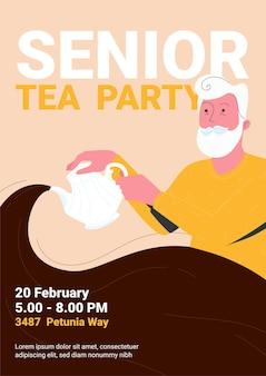 Веселый старик ждет своих друзей для шаблона плаката чаепития