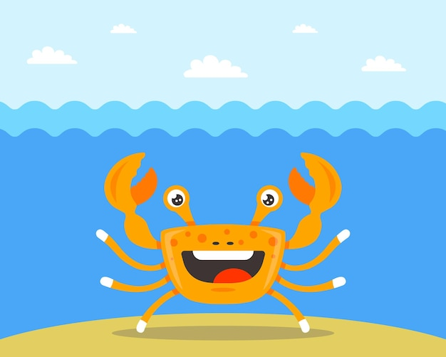 Cheerful orange crab under sea water. flat character vector illustration