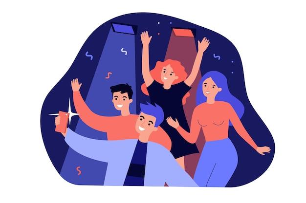 Веселые люди, делающие селфи на смартфоне во время вечеринки, изолировали плоскую иллюстрацию