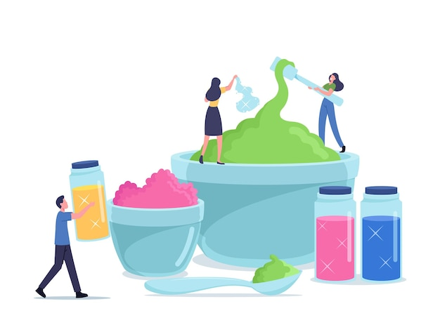 Cheerful people making slime, having fun. tiny male and female characters mixing ingredients in huge bowls for creating gooey handgum toy, fun hobby recreation concept. cartoon vector illustration
