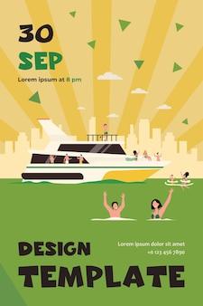 Gente allegra che naviga sul modello di flyer piatto isolato barca di lusso