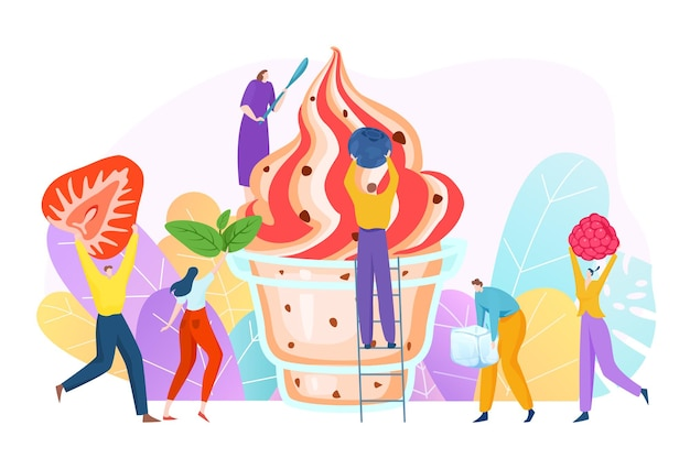 맛있는 과일 크림 디저트를 만드는 쾌활한 사람들 작은 캐릭터