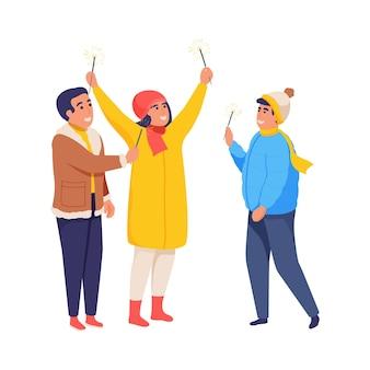 休日のフラット孤立イラストを祝うベンガルライトと陽気な人々