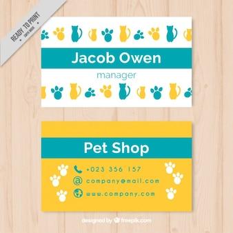지문과 고양이가있는 쾌활한 애완 동물 가게 카드