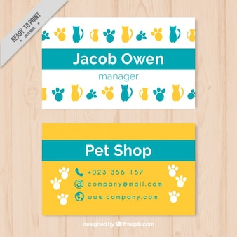 Cheerful pet store card with fingerprints and cats