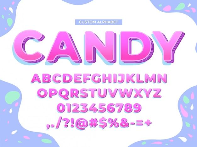Cheerful pop alphabet font set