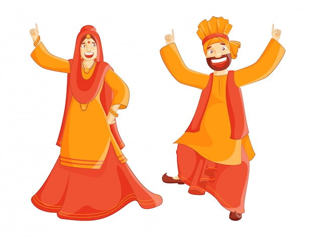 Cheerful punjabi couple performing bhangra dance on white background.