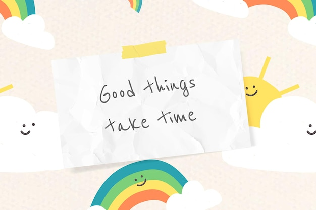 Cheerful quote template vector with cute doodle rainbow drawings banner
