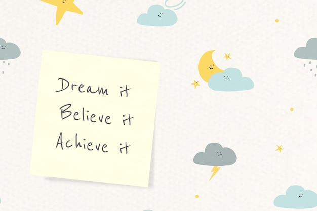 Cheerful quote template vector with cute doodle weather drawings banner