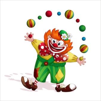 Cheerful redhead clown juggler.