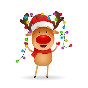 Cheerful reindeer celebrating christmas
