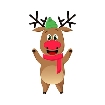 Cheerful reindeer in hat and scarf waving hooves