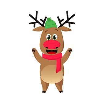 Веселый олень в шапке и шарфе машет копытами